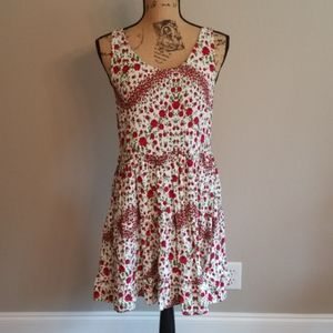 Red Floral Tie Back Swing Dress